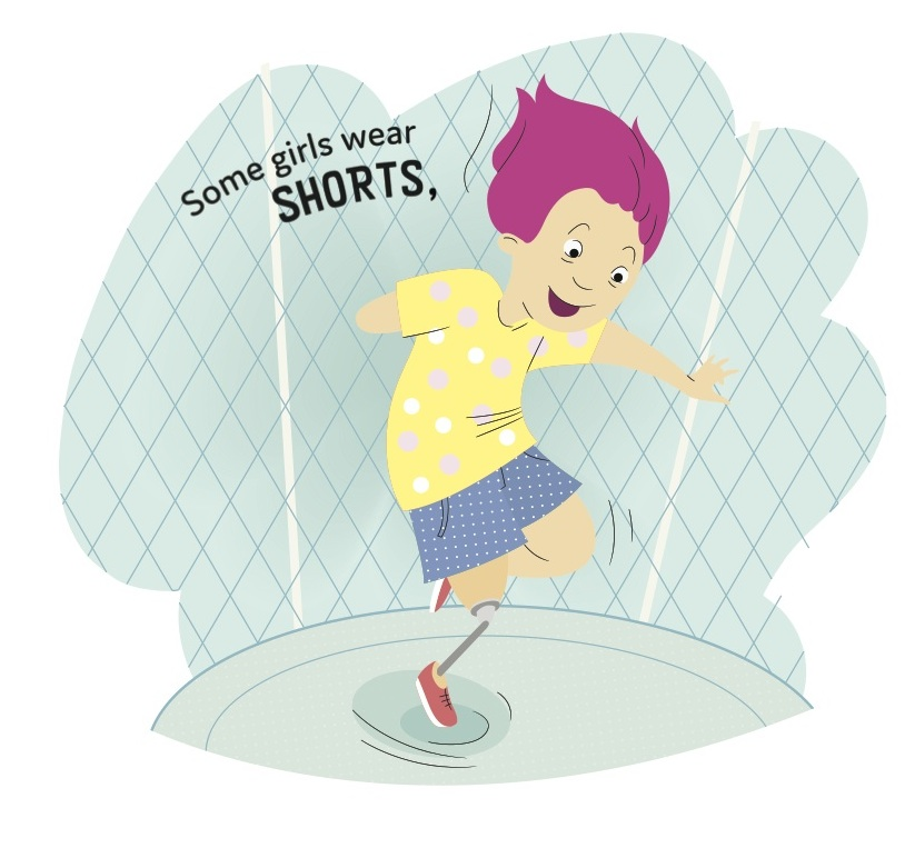 """This girl is from the """"some girls wear shorts page"""". She also happens to have a visible disability and gets pride of place at the front of SOME GIRLS."""
