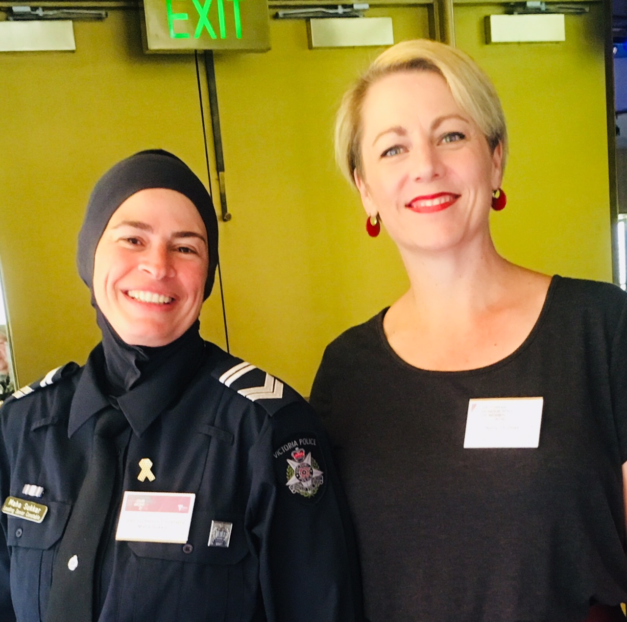 Author Nelly Thomas shown here with Maha Sukar - the first Australian Police Officer to wear a Hijab while on duty.