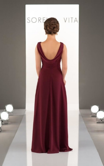 4. This bridesmaid dress is so classy! It features a v-neck and a cowl back that's perfect to show off any up-do.