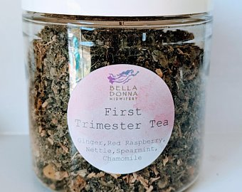 First Trimester Tea - IngredientsOur custom blend of ginger, red raspberry, nettle, spearmint, and chamomile will help kick that first trimester nausea!