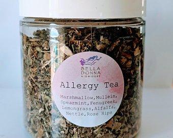 Allergy Tea - IngredientsA delicious blend of marshmallow root, mullein, spearmint, fenugreek, lemongrass, alfalfa, nettle, and rose hips will relieve those seasonal allergy woes!