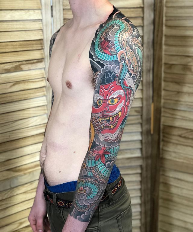 Healed tengu and hannya mask with snake sleeve done by @adamkmarton. Stop by the shop or call to schedule your appointment.
