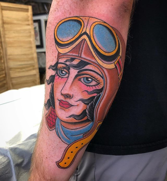 Recent aviatrix tattoo done by @jasoncbrown. Thanks again Joseph!