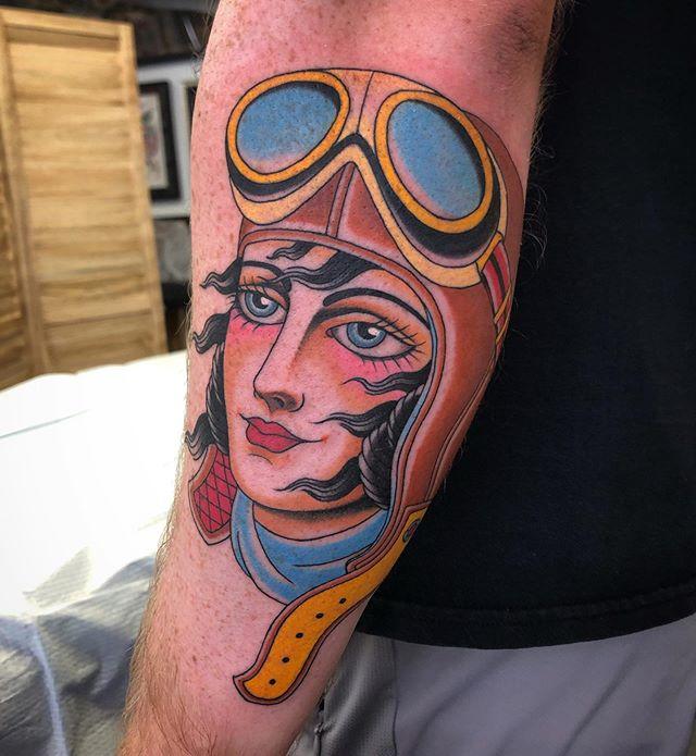 Recent aviatrix tattoo done by @jasoncbrown. Thanks again Joseph!
