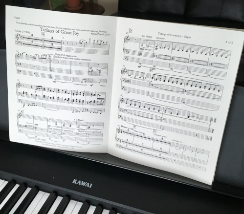 Organ part. When your instrument requires all your limbs, it's especially important to optimize page turns.