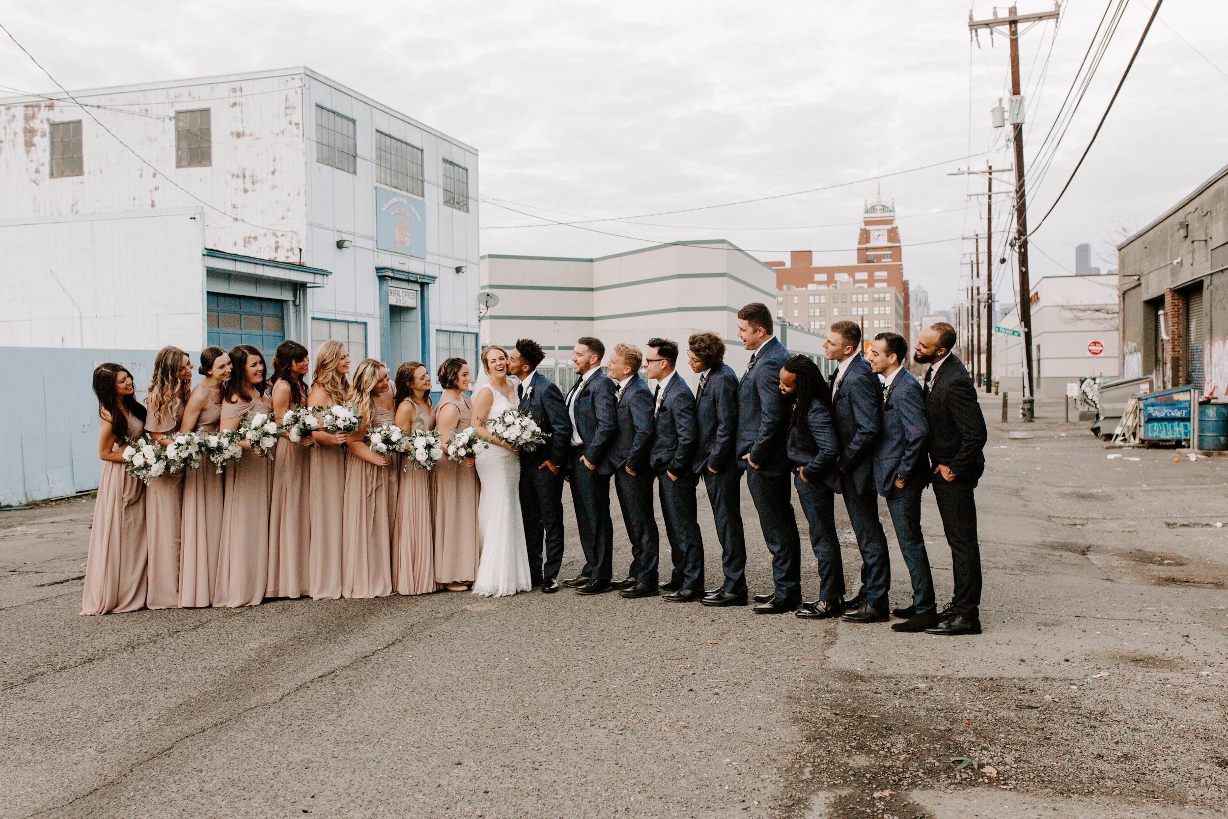 wedding party industrial seattle wedding photos