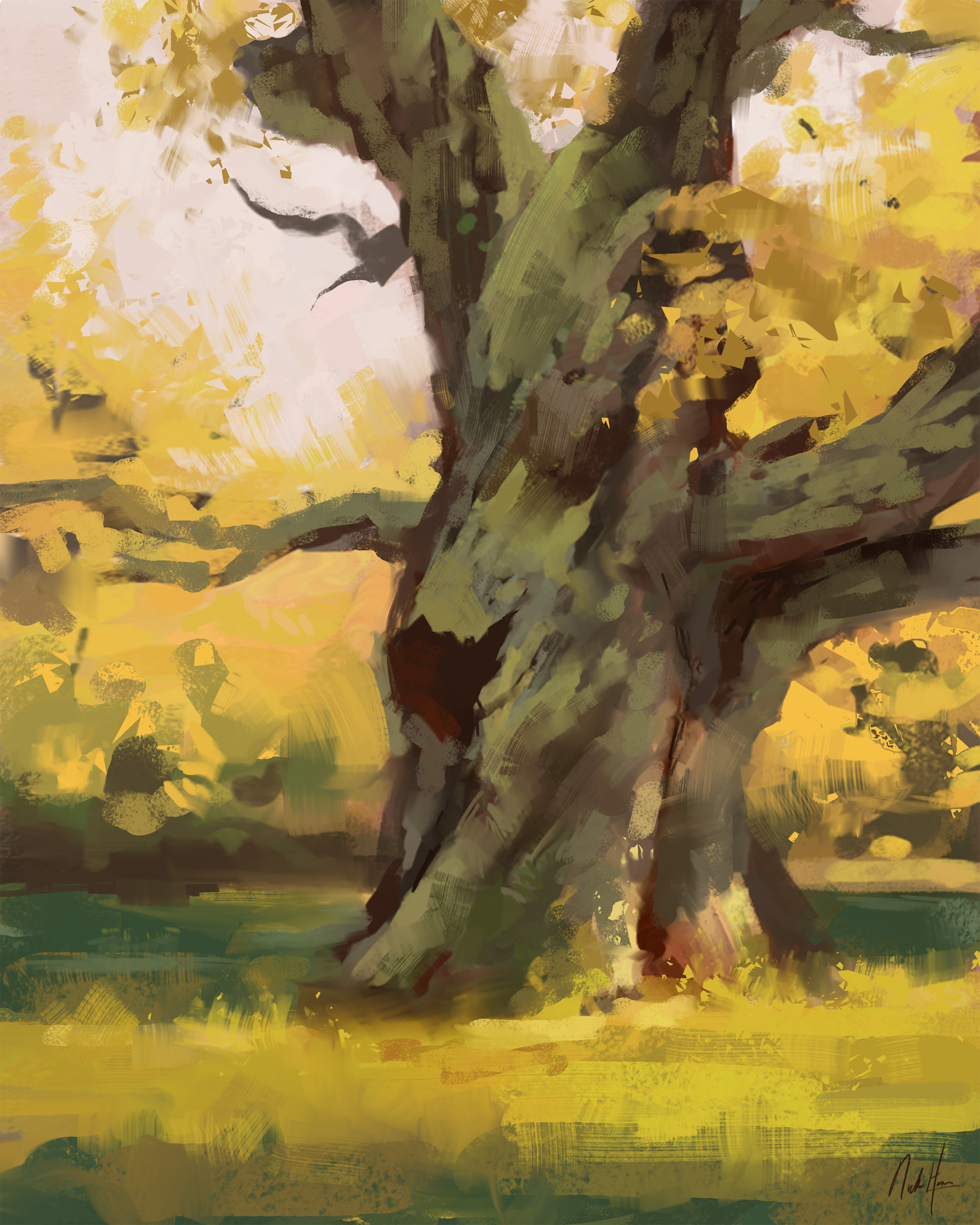 Autumn Oak Tree Study 8x10.jpg