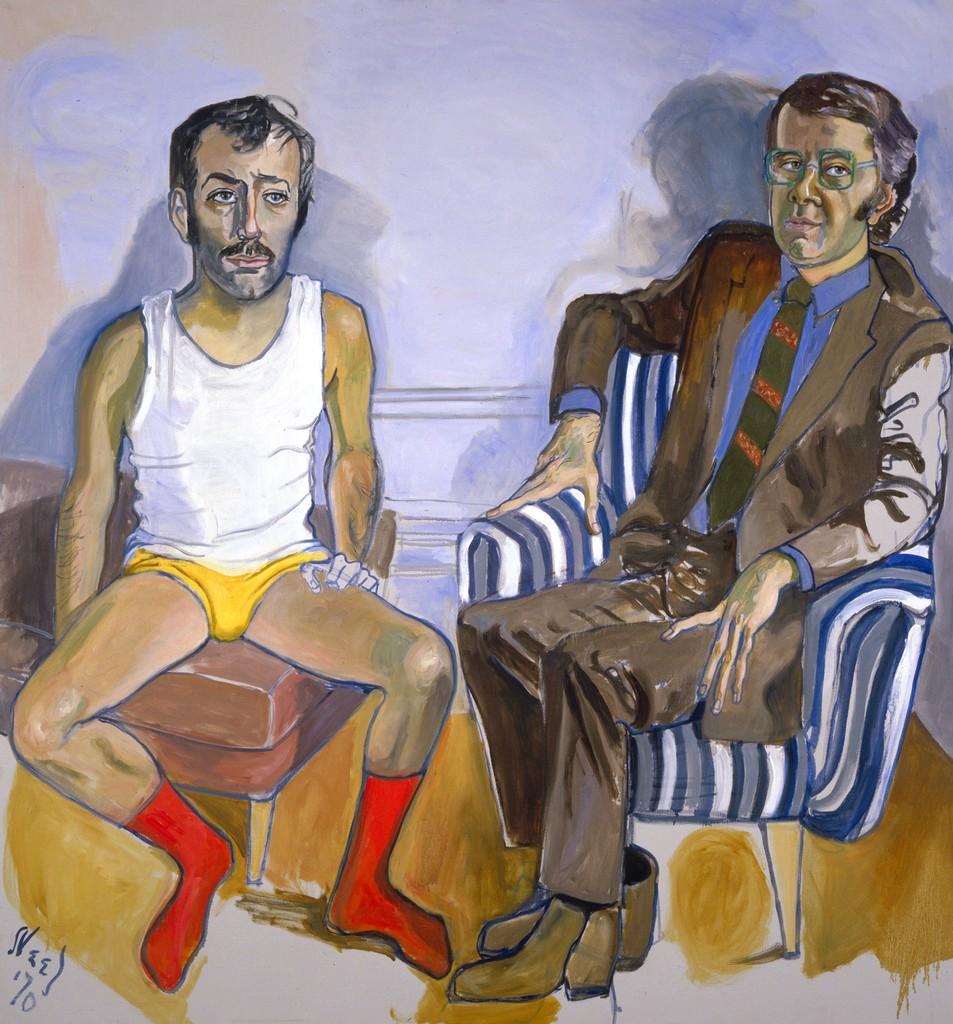 Alice Neel,  Gregory Battcock and   David Bourdon , 1970, oil on canvas.