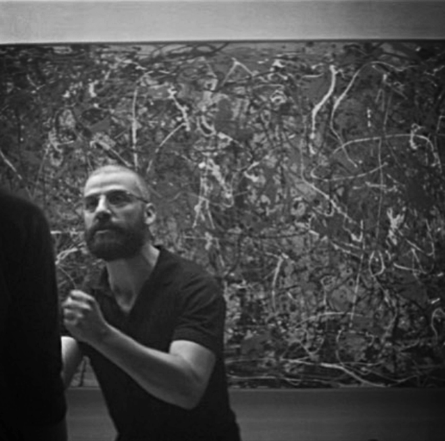 Wonderful moment in  Ex Machina (2014) when a painting (Jackson Pollock's No. 5 ., 1948) is used as an object lesson in human consciousness and theory of knowledge and mind.
