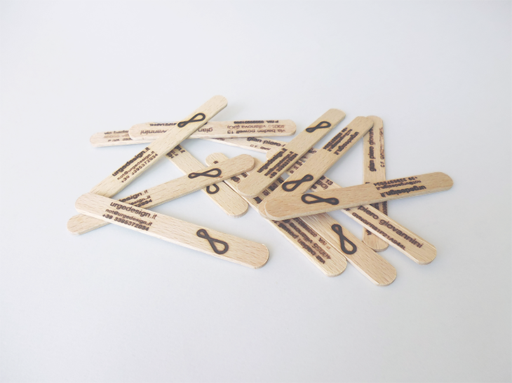 not only messages fire stamped on the wooden sticks, but brands and business cards as well