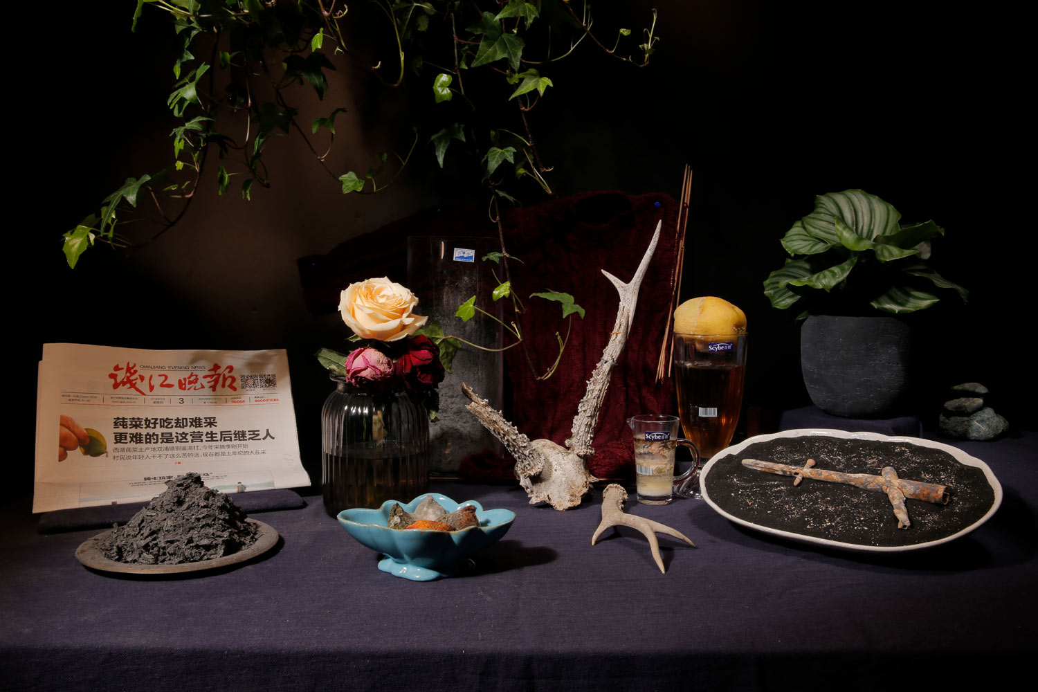 Shao Ruilu, Do Not Be Afraid of Life or Death, You Have Already Seen A Lot , 2018. Interactive Time-lapse Still life Photography + Still Life Objects Display. © Courtesy of the artist