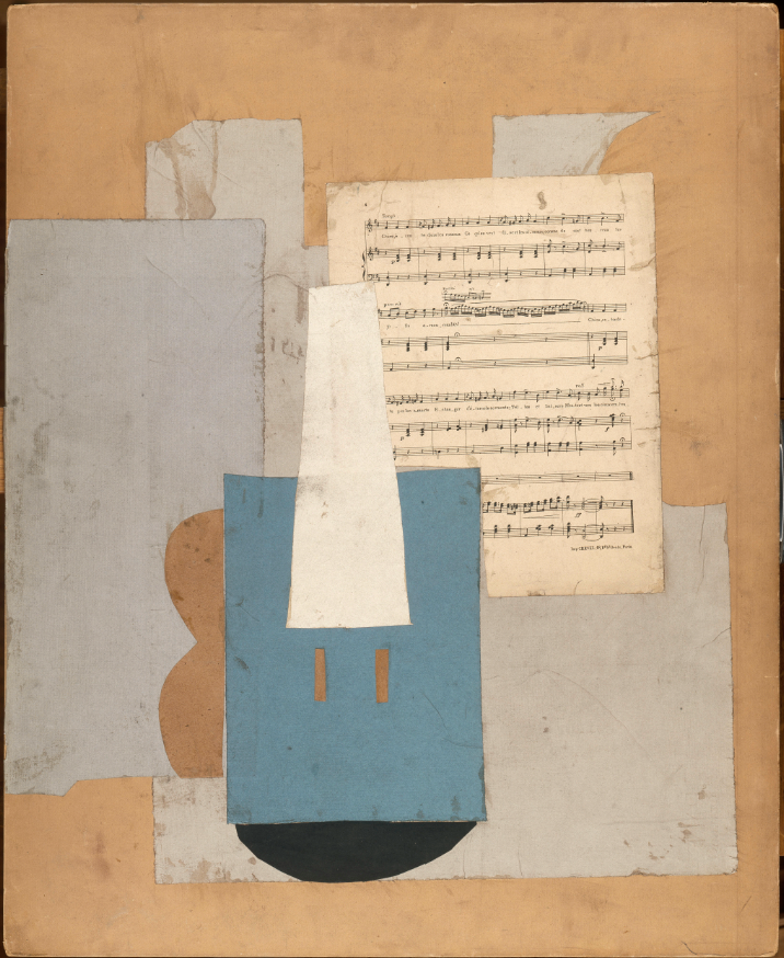 Violin and Music Sheets.  Paris, autumn 1912. Papers cut and glued on cardboard. 78 x 63.5 cm. Musée national Picasso-Paris © Succession Picasso 2019