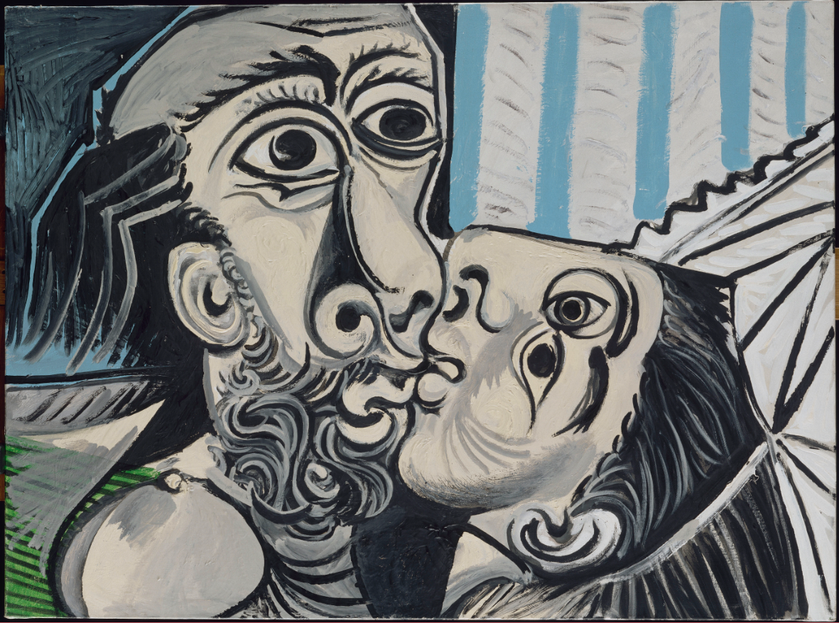 Le Baiser , Mougins, 26 octobre 1969, huile sur toile, 97x130cm. Musée national Picasso-Paris. © Succession Picasso 2019