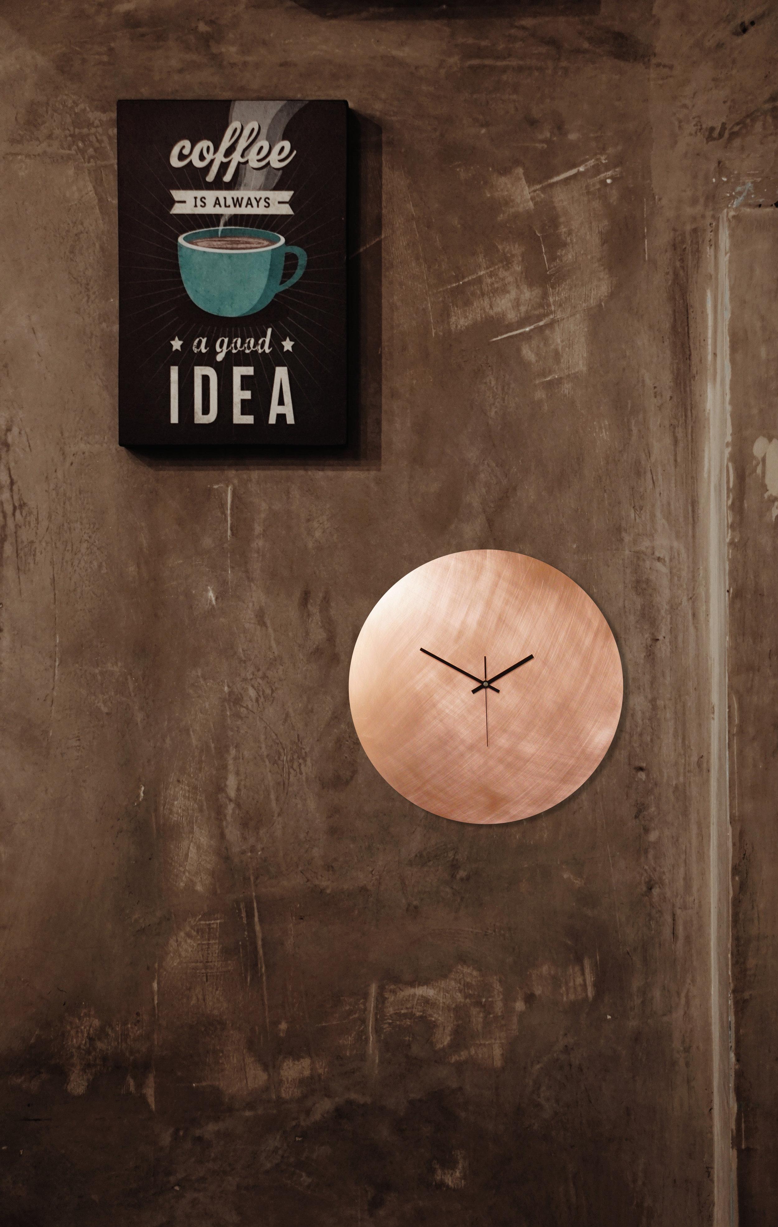 Kupfer Uhr Rund Kaffee Schild.jpg