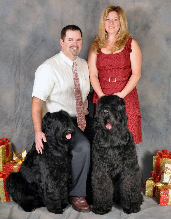 Richard Hawkes, DVM and DeAnne Hawkes with the first Guardian Bears - BreeAsha (left) and Juri. BreeAsha passed in late 2016 at just six years of age due to her struggles with multiple, inherited health issues.