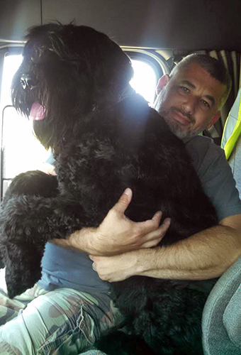 Ziva (Guardian Bears Aurora Borealis) at 9 months of age, with daddy Brian