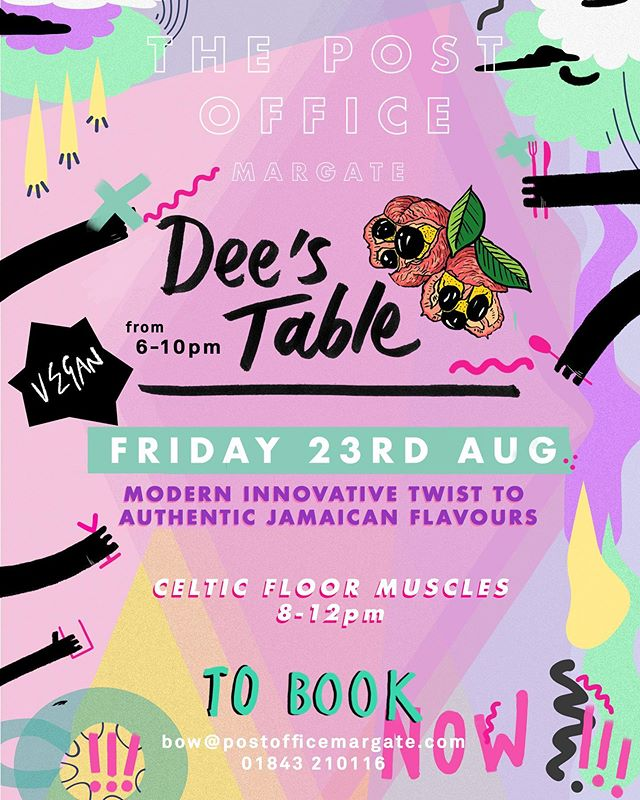 💥FRIDAY 23rd AUGUST💥  We are really excited to have @dees_table take over the kitchen for the evening serving amazing authentic Jamaican/Vegan food 🍴🍷 - Alongside that we have @celticfloormuscles playing tunes from 8-12 ⚡️ - DM to book or give us a call 01843 210116. Menu to follow shortly 📞 📖 - thank you @sprankensteinstudio for the amazing poster ❤️❤️❤️