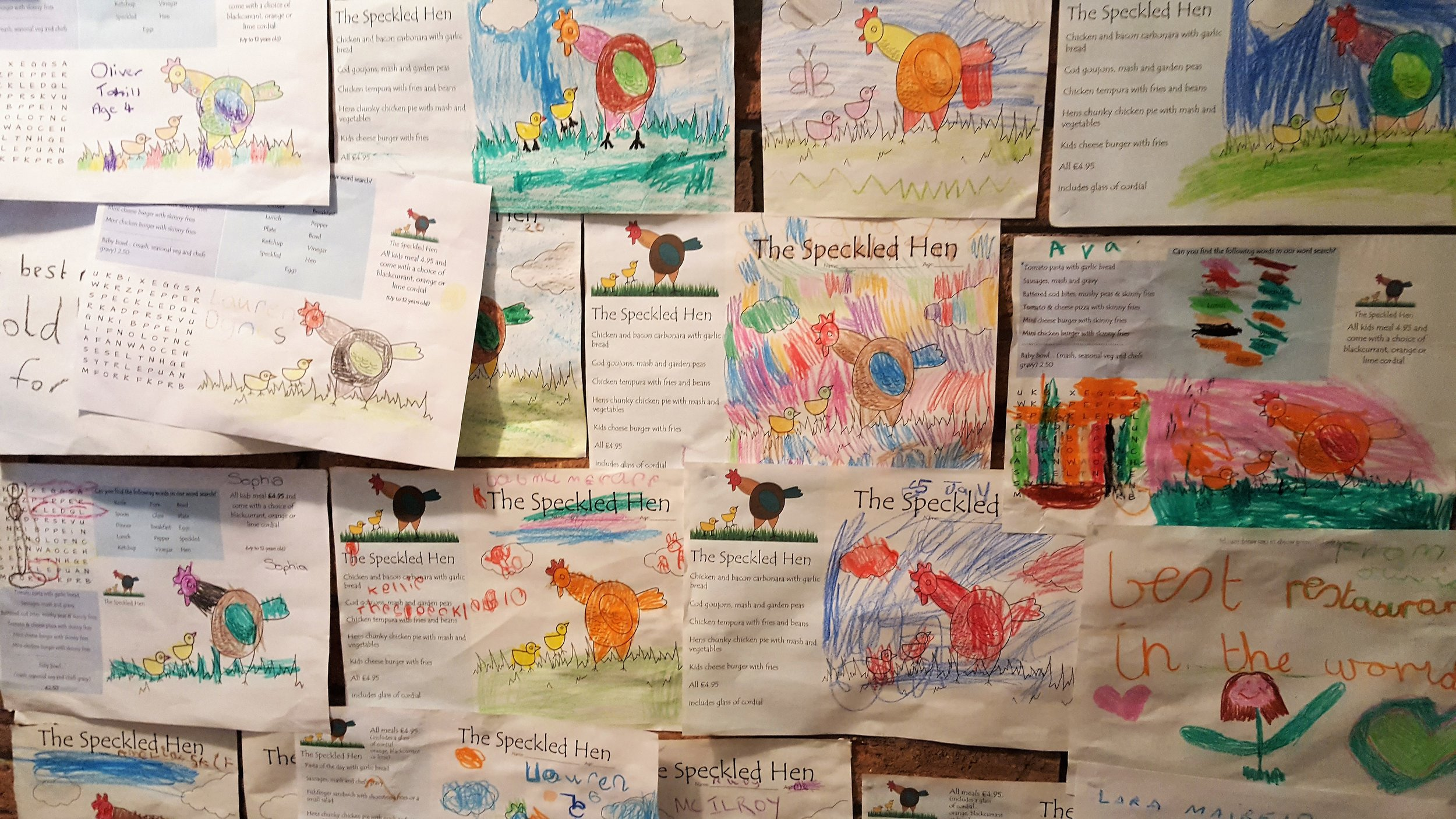 The Speckled Hen childrens menu