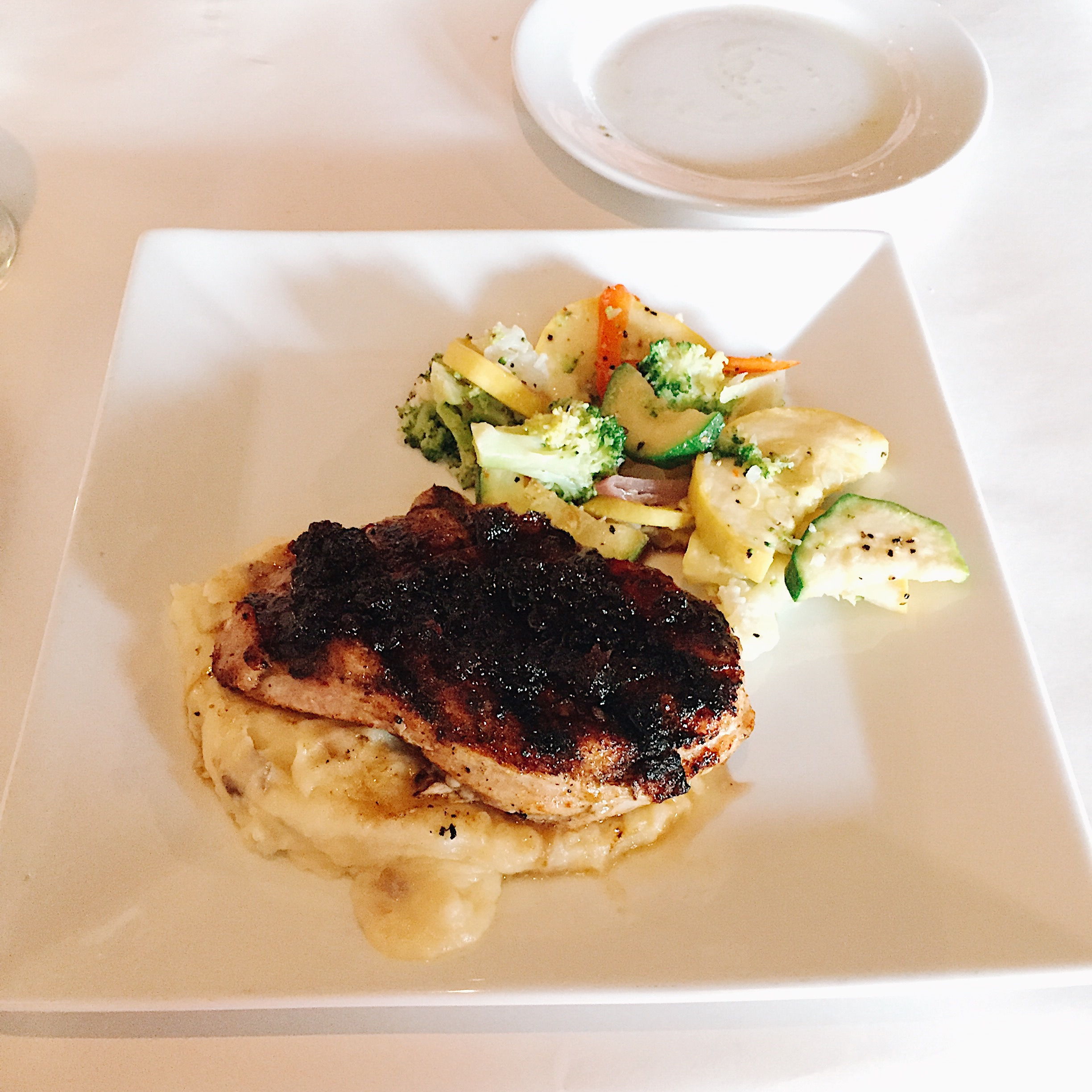 Cherry Glazed Pork with mashed potatoes and grilled veggies