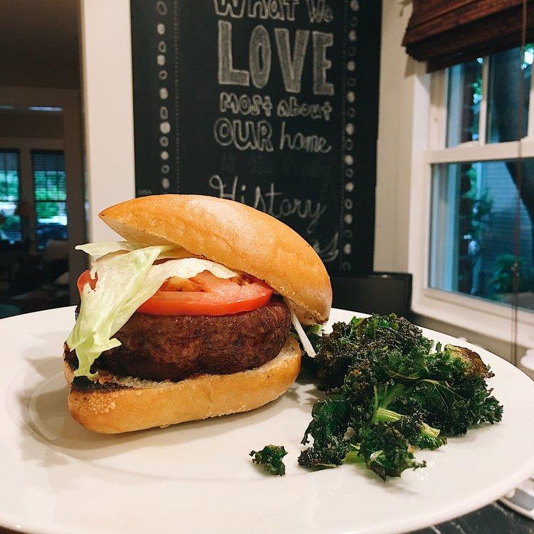 Mushroom Burgers with Carmalized Onions & Kale Chips -