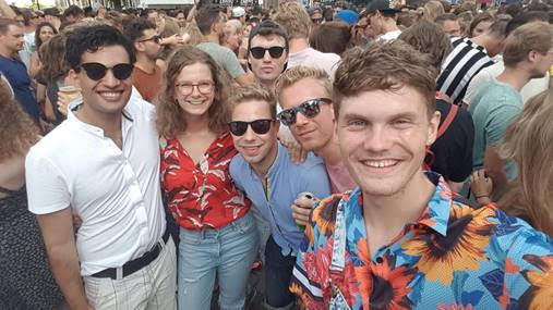 Me with Marijn, my older brother Jasper, at Amsterdam Gay Pride