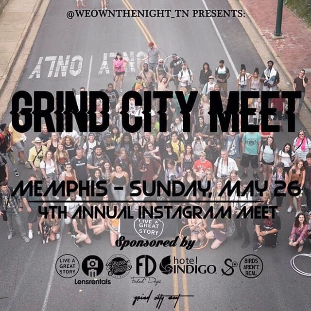 Another InstaMeet in #Memphis on Sunday! Tag a friend below, don't forget your phone/camera.⁣ ⁣ When: Sunday, May 26th at 3:00PM⁣ Where: Madison Avenue Park Why: Connect local Instagrammers.⁣ Hashtags: #GrindCityMeet & #OnlyTennISee ⁣ Hosts: @weownthenight_tn & @grindcitymeet