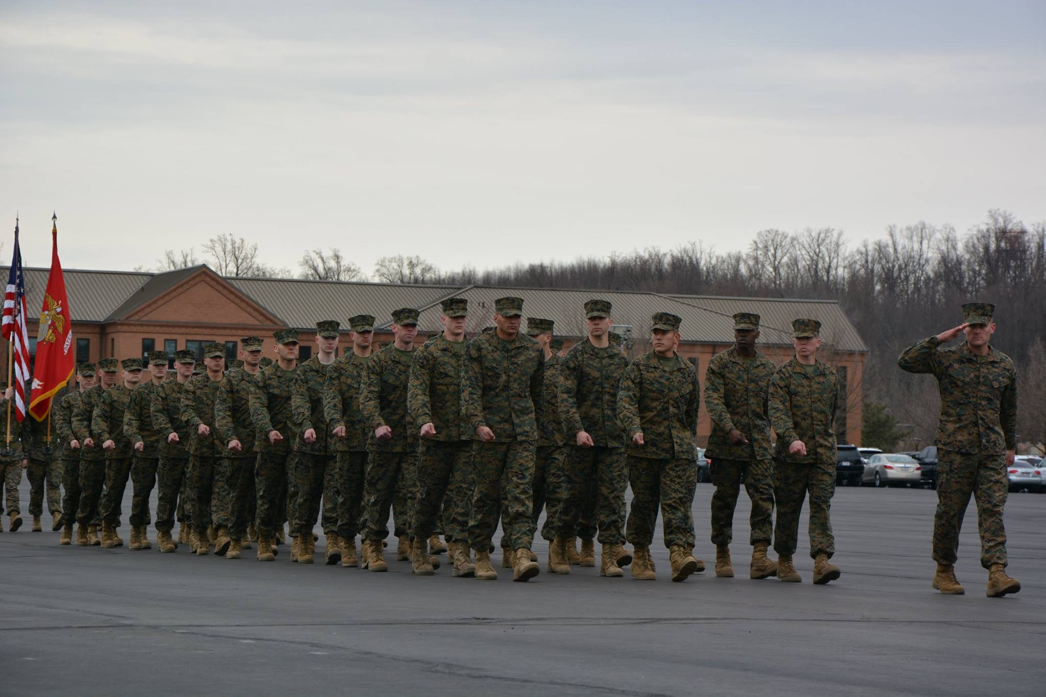 My platoon, Charlie Company 3rd Platoon, marches in front of the stands during the first portion of graduation. I am incredibly grateful for many of these guys and the friendships I have made. (USMC)