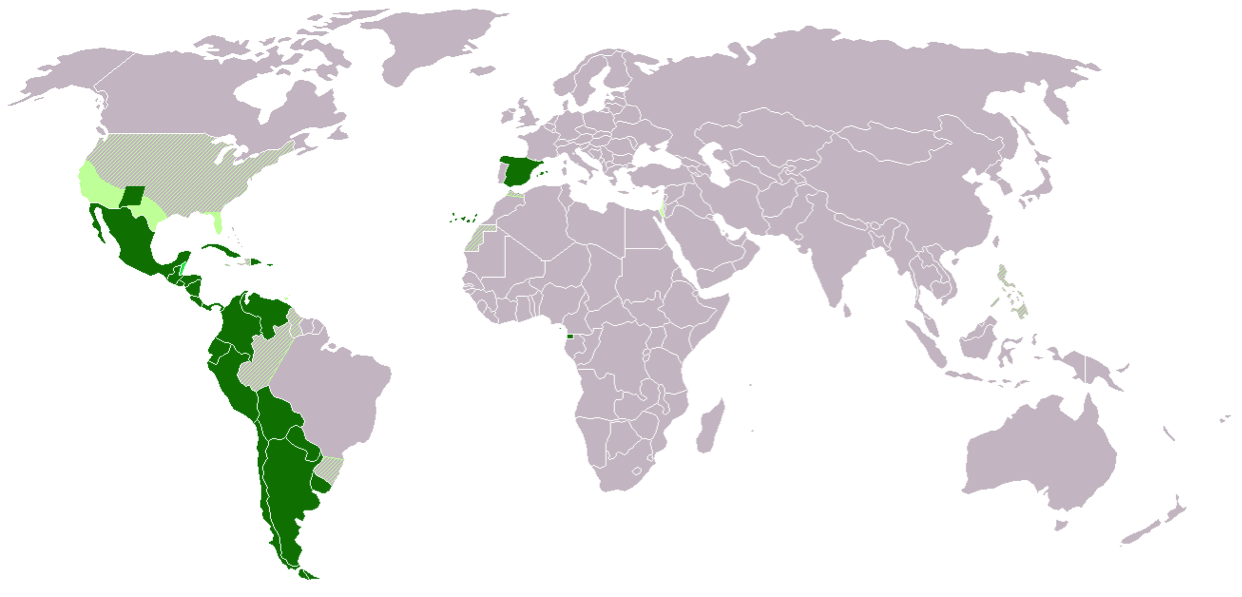 Spanish Speaking Countries around the globe   https://commons.wikimedia.org/wiki/File:Map-Hispanophone_World_andIsrael.png