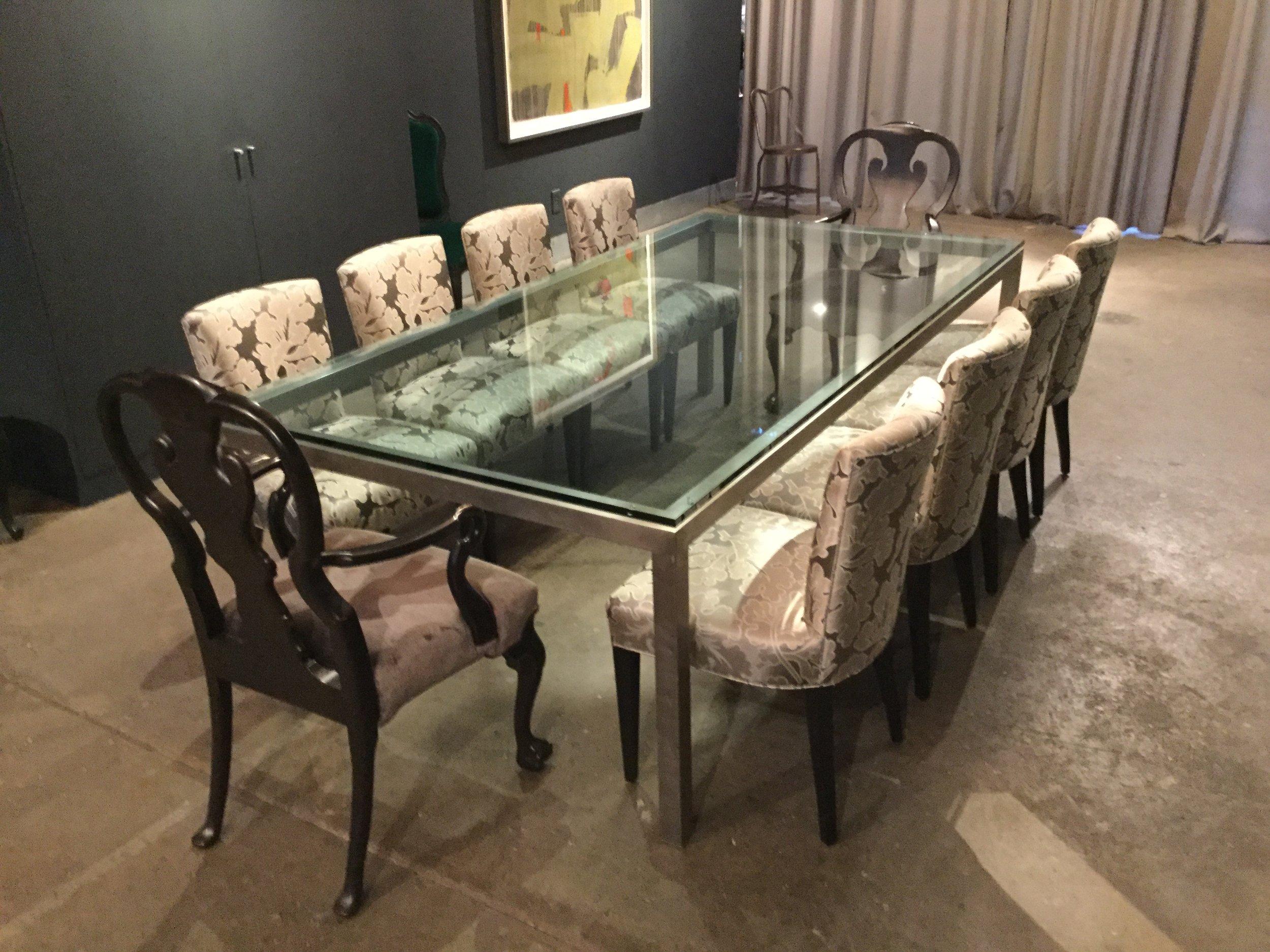 Custom Glass Dining Table $3450.00