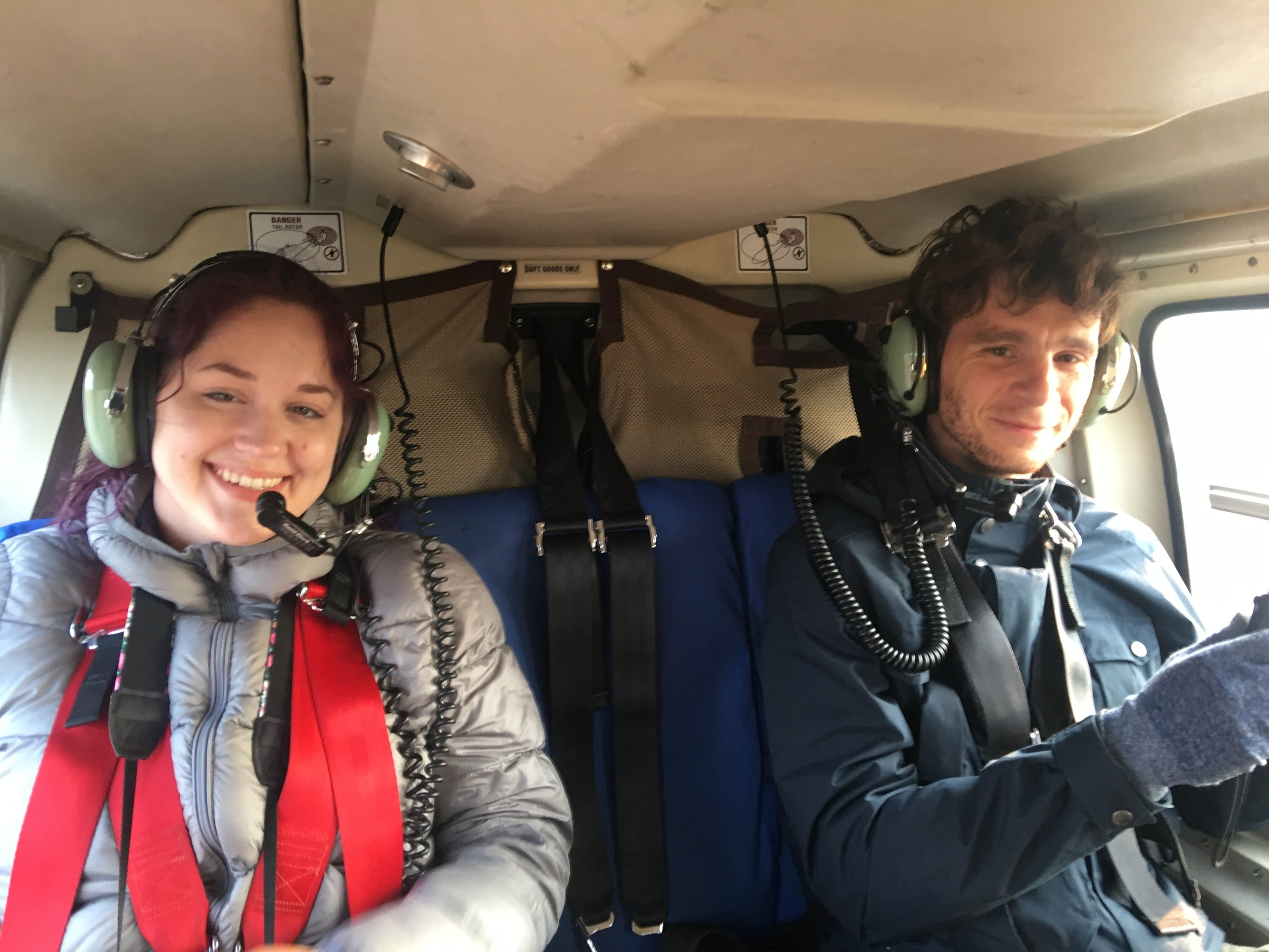 Valérie and Adrien in the helo