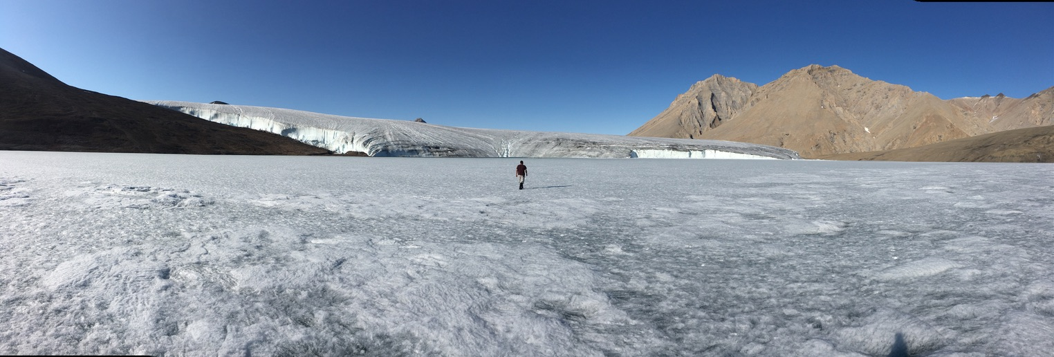 Pilipoosie strolling towards the Thores Glacier on the lake ice.