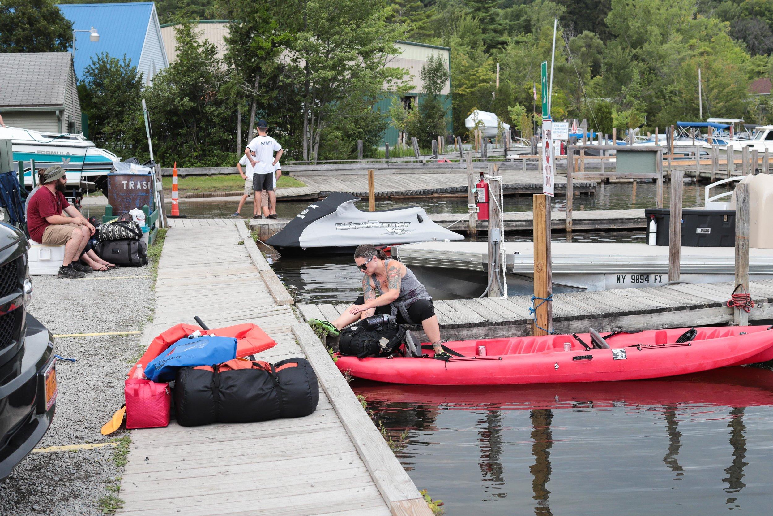 Loading up the kayak