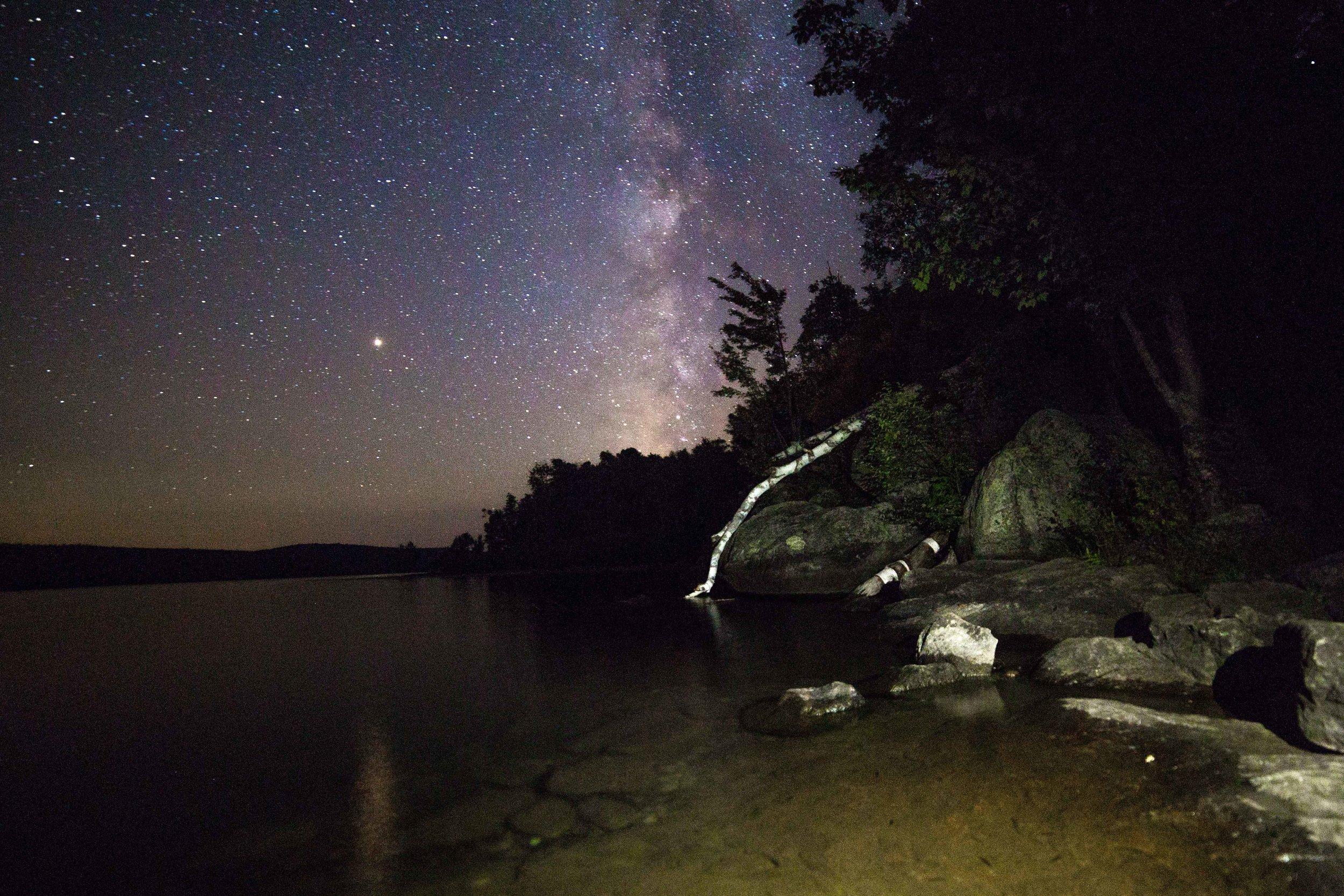 The stars above Thirteenth Lake, Adirondack Mountains, New York