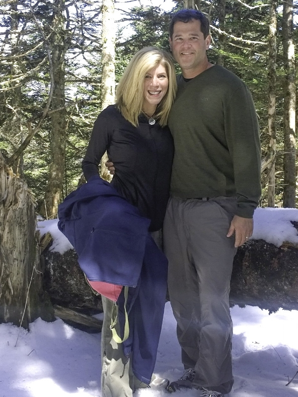 Hiking in the Smoky Mountains on our honeymoon. We don't get much snow in Alabama!