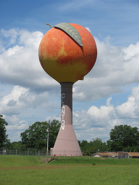 Peach Water Tower in Clanton, AL