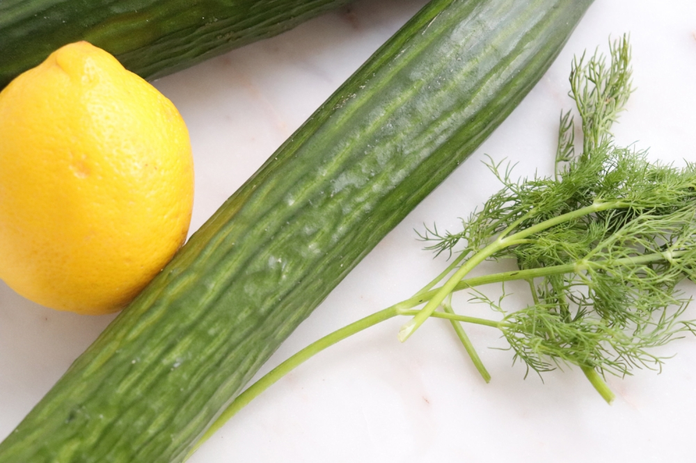 Stars of the show! Cucumbers, lemon and dill.