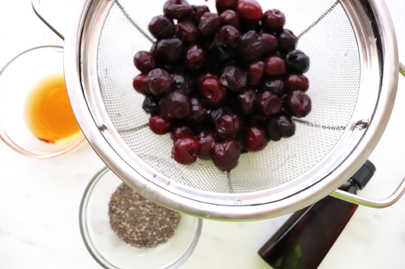 Only four ingredients - cherries, chia seeds, honey and vanilla!