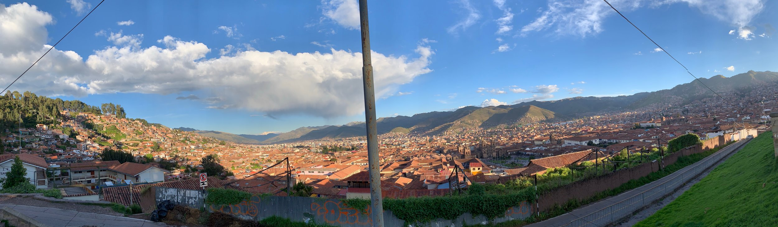 The view of Cusco from the ruins of Sacsayhuaman above the city.