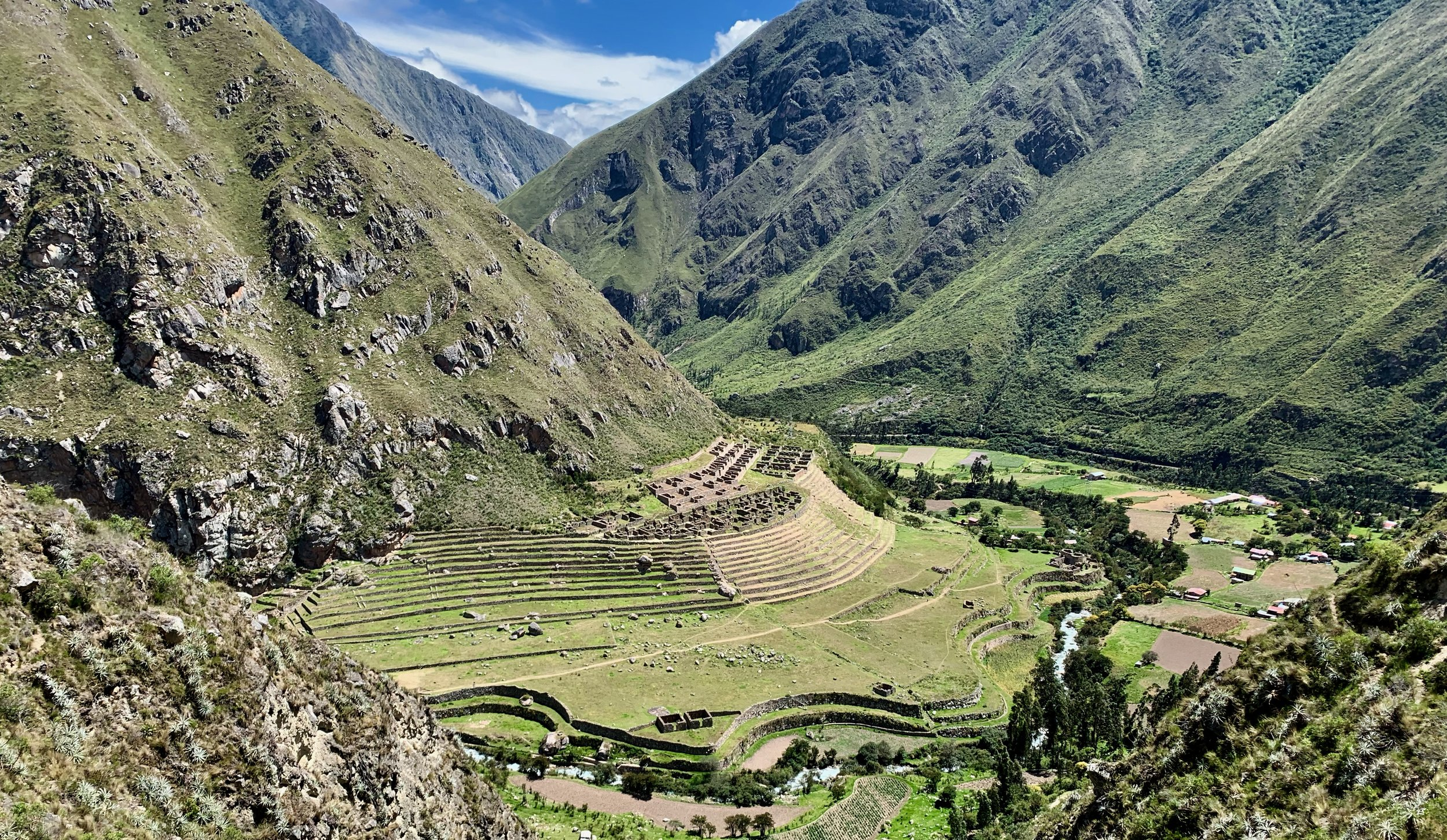 The view of Llactapata from across the river. When the Inca knew the Spanish were to take power of their lands, they blockaded this place by creating landslides to prevent access by trail.