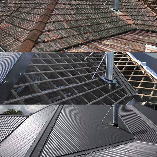 The reroof process #protectyourhome #newlid #lighter than concrete tiles #greyfriars #colorsteel