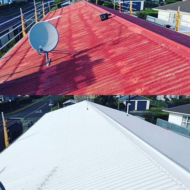 Before and after #reroof #newplymouth #jrogersroofing