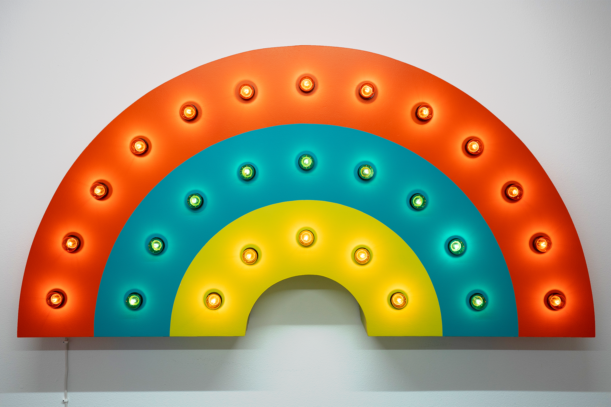 """Rainbow  2018 - 61""""w x 31""""h x 10""""d - Wood, acrylic, light bulbs, wire"""