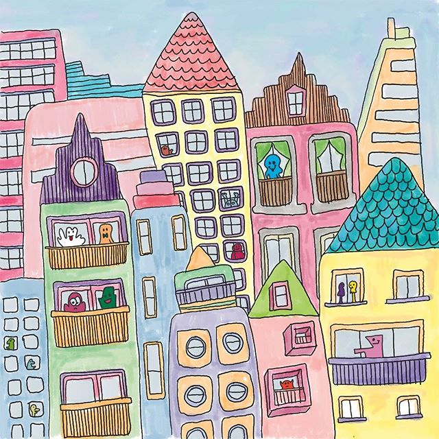 Buildings, buildings and more buildings! #jothemonster #buildings #childrenillustrations #childrensbookart #illustratorsoninstagram #artforbabies #crazybuildings #everyoneisanartist #monsterart #monsterhouse #artoninstagram #felttippens