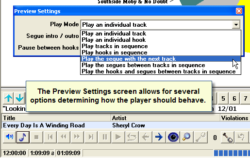 Player-In Schedule Preview Settings