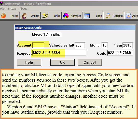 Access Code Screen