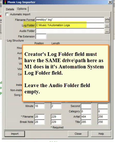 SPS - Creator Log Foilder Settings