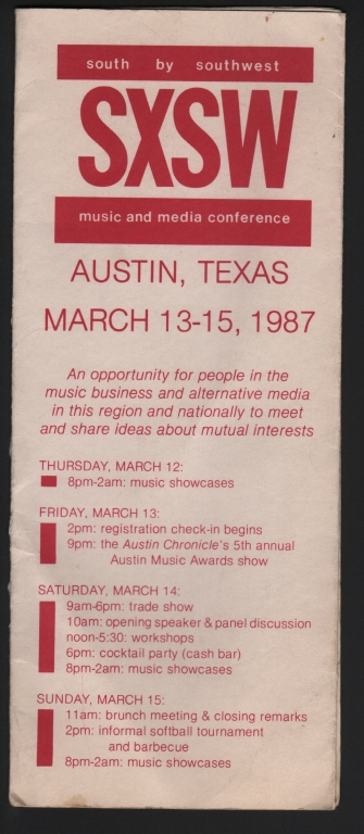 Program for first South By Southwest Festival, c. 1987.
