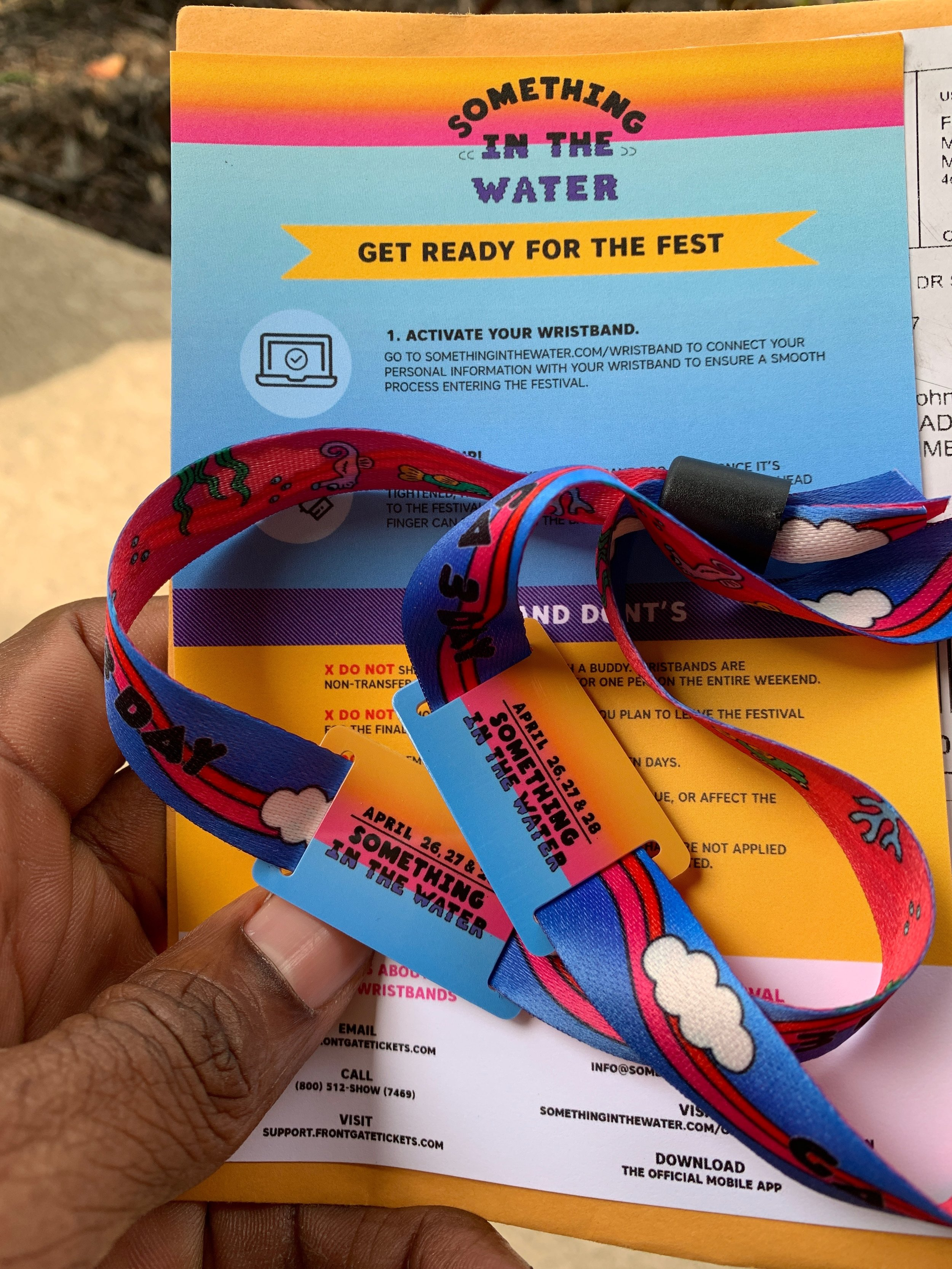 Something in the Water Music Festival Wrist Band