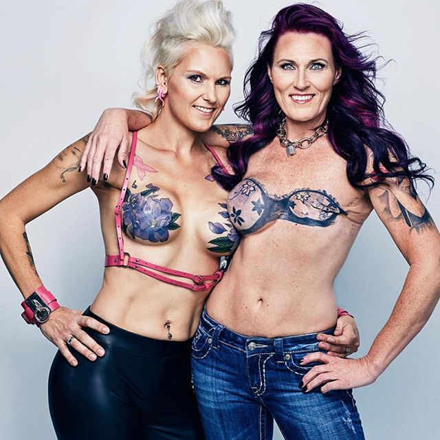 It's #NationalTattooDay and we are celebrating these kickass women with gorgeous mastectomy tattoos. Melissa (right) is 11 years cancer free, and Starling (left) is 8 years cancer free. #FCancer #unite #mastectomy #tattoo