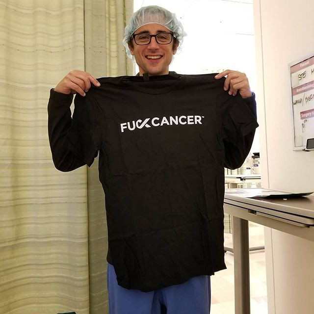 This is an oncologist at the Stanford Health Center. His patient Monica (swipe left) is a 4 x ovarian cancer fighter. She's been spreading the #FuckCancer spirit to everyone and we are so glad!